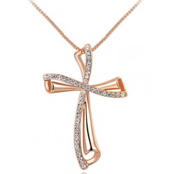 Rose Gold Czech Stone Cross