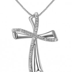 Womens White Gold Czech Stone Cross