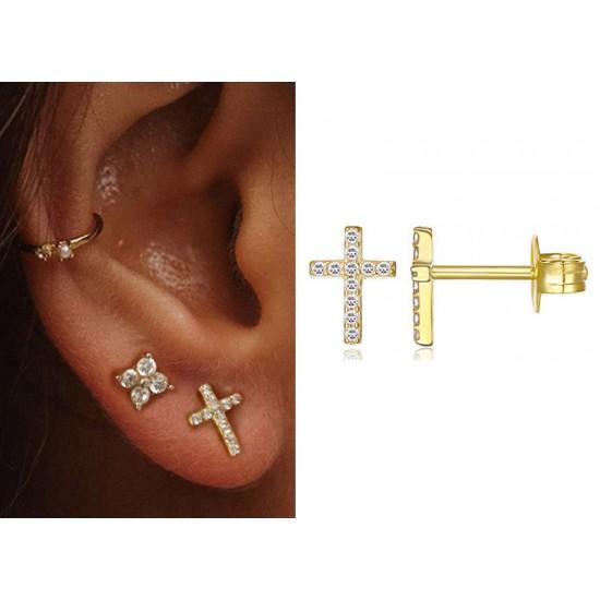 Cross Stud Earrings Gold Color Sterling Silver