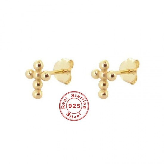 Gold Colored Round Bead Cross Stud Earrings
