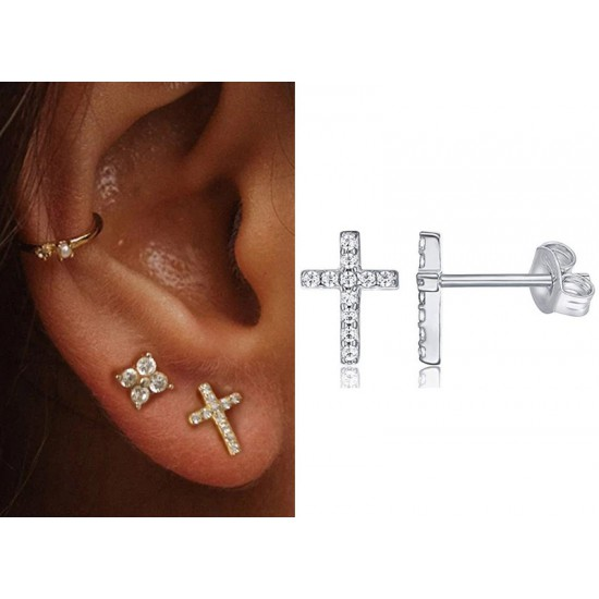 Cross Stud Earrings Sterling Silver