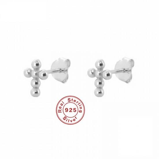 Sterling Silver Round Bead Cross Stud Earrings