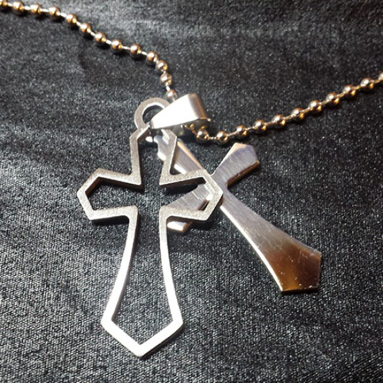 Men's Cross Cutout Stainless Steel Cross Necklace