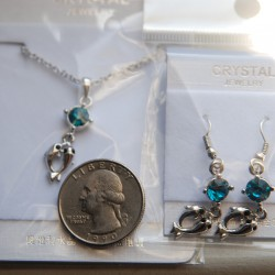 Dolphin Necklace and Earring Set (Blue)