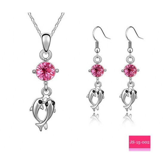 Dolphin Necklace and Earring Set (Pink)