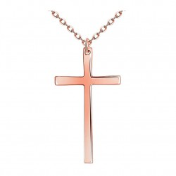 Women's 18K Rose gold/platinum plated cross