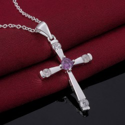 Silver Plated Cross Pendant CZ Amethyst