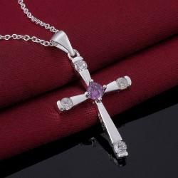 Silver Plated Cross Pendant CZ Amethyst