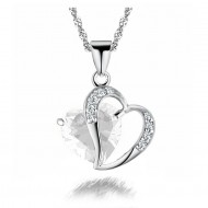 18K Gold Plated Zircon Crystal Heart Pendant Necklace-Clear