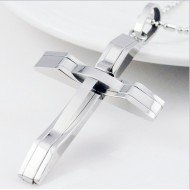 Men's Polished Cross Pendant Necklace Trendy