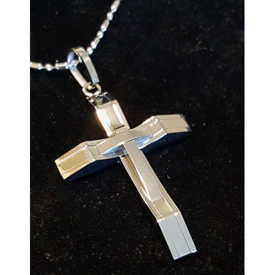 Men's Polished Cross Pendant Necklace Trendy